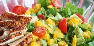 Cilantro Vinaigrette on Mango Chicken Salad