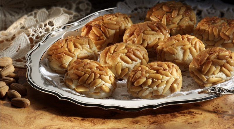 Traditional spanish marzipan with pine nuts