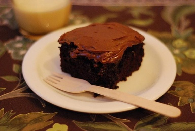 Chocolate Crazy Cake (with one-minute frosting recipe)