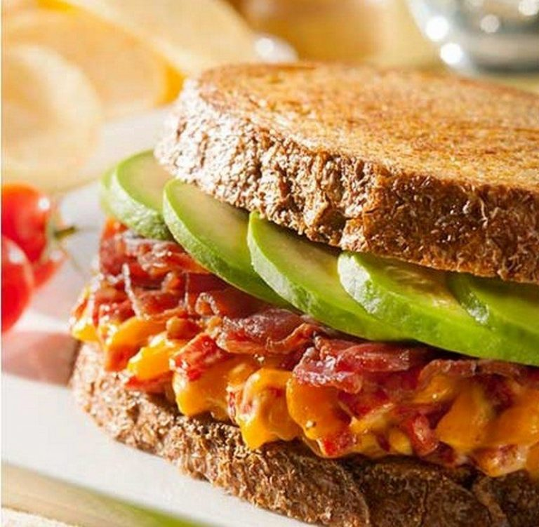 Grilled Pimento Cheese with Avocado & Bacon Sandwich