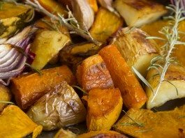 Delicious rustic baked vegetables with fresh rosemary
