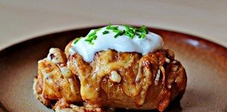 Cheesy Sliced and Stuffed Baked Potato