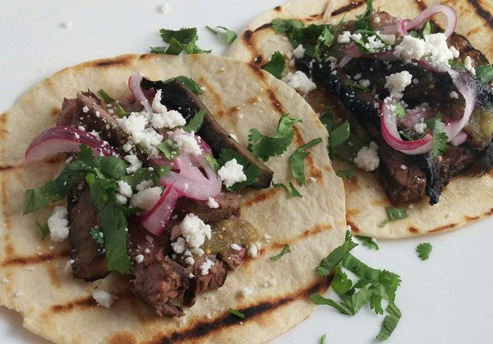 Grilled marinated skirt steak tacos