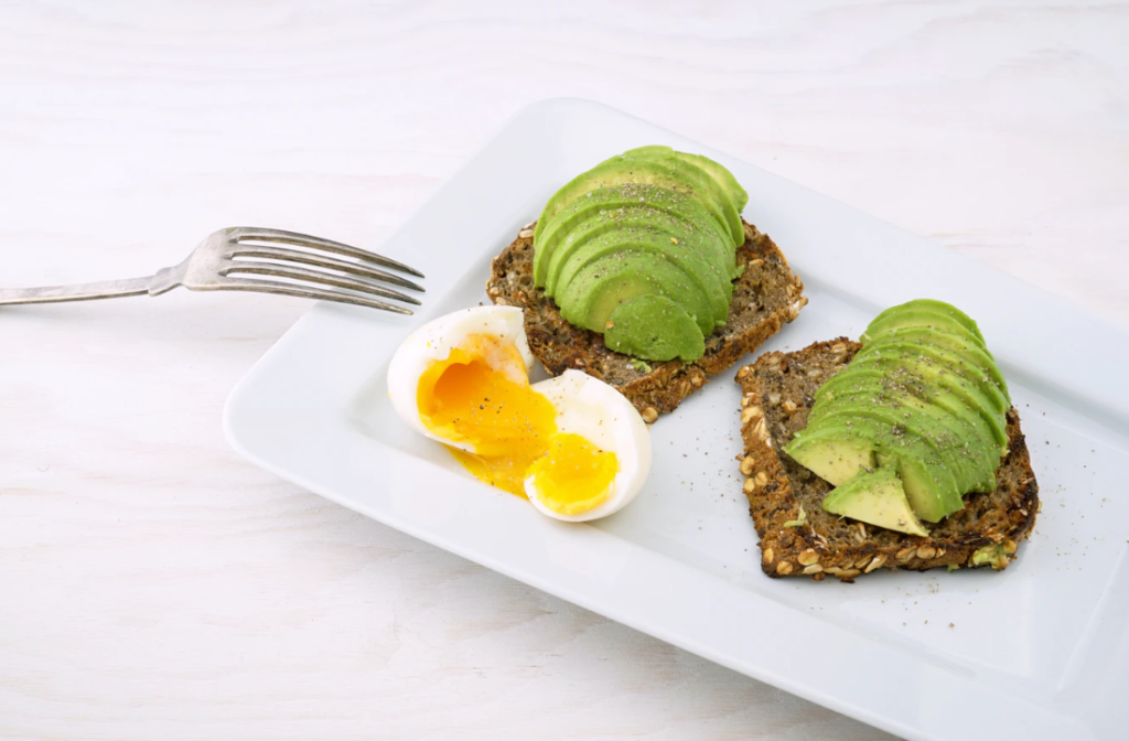 Avocado, egg and whole grain bread make a nutritionally rich meal any time of day!