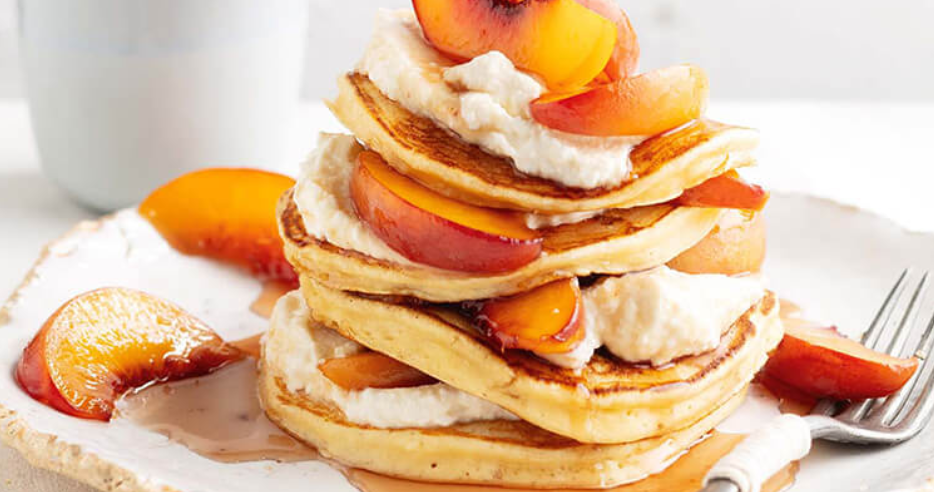 Ricotta and Peach Pancakes