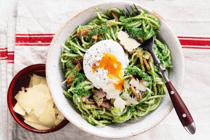 Bacon and Egg Pesto Spaghetti