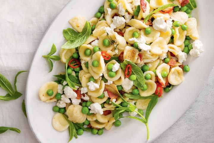 Chili, Pea, Bacon and Feta Pasta