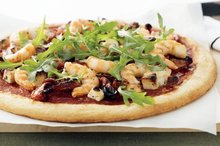 Prawn, Feta and Semi-dried Tomato Pizza