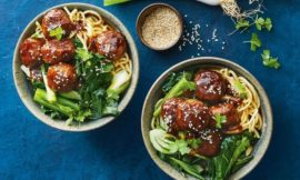 Sticky Barbecue Meatballs with Asian Greens