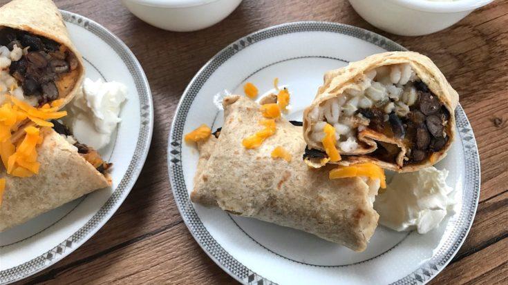 Simple Black Bean and Barley Vegetarian Burritos