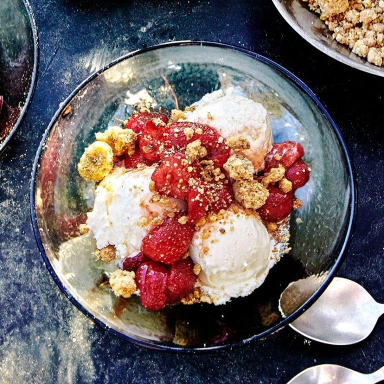 Salted Pistachio Crumbles With Berries and Ice Cream