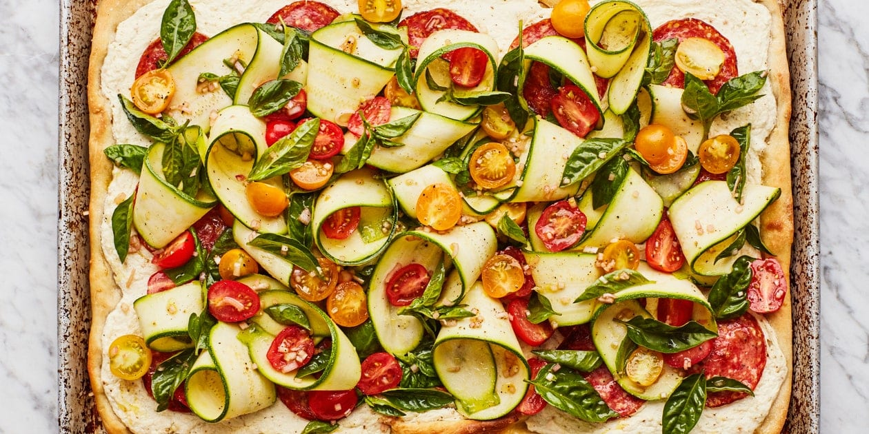 Summer Pizza with Salami, Zucchini, and Tomatoes