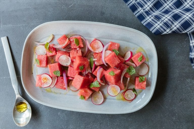 Watermelon Salad With Radishes and Mint