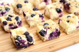 Lemon and blueberry cheesecake slice