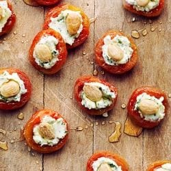 Apricots with Basil-Goat Cheese and Almonds