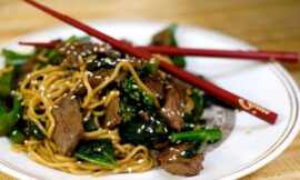Noodles with Beef & Chinese Broccoli